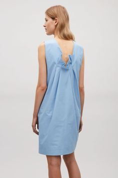 COS image 3 of Pleated back dress in Sky Blue