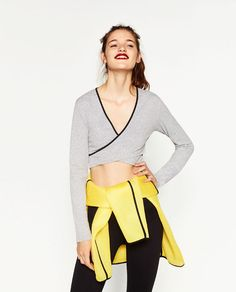Image 2 of CONTRASTING CROSSOVER TOP from Zara