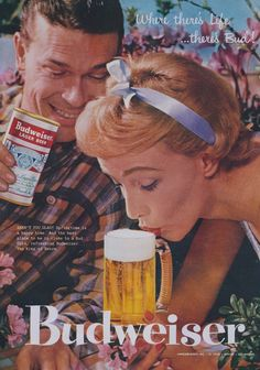 Rare 1957 Budweiser Beer Ad Retro Couple by AdVintageCom on Etsy