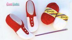 İki Şişle Kolay Haroşa Patik Modeli Yapılışı Anlatımlı Videolu Crochet Bebe, Diy And Crafts, Flip Flops, Sewing Patterns, Slip On, Booty, Sandals, Shoes, Pasta