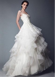 Fabulous Tulle Spaghetti Straps Neckline Ball Gown Wedding Dresses with Beaded Embroidery