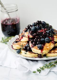 Lemon Ricotta Thyme Pancakes with Blueberry Sauce