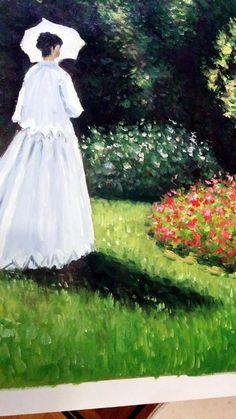 """Riproduzione a olio su tela di un quadro di Monet. """"Donna in giardino"""" dettaglio. http://www.tuttiquadri.it/monet/"""