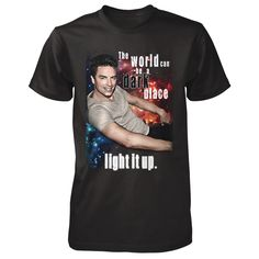 """John Barrowman: """"Light It Up"""" Tee!  """"The World Can be a Dark Place. Light It Up!  I've designed a new limited edition tee!  A portion of the proceeds will go to Sanctuary Palm Springs which provides a home for LGBT youth in foster care.  -JB  Big sizes, tank top and sweatshirts available in drop down.  WORLDWIDE SHIPPING"""