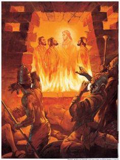 """The Three Hebrews and Jesus in the Fiery Furnace. BIBLE SCRIPTURE: Daniel """"He answered and said, Lo, I see four men loose, walking in the midst of the fire, and they have no hurt; and the form of the fourth is like the Son of God. Bible Pictures, Jesus Pictures, Bible Art, Bible Scriptures, Fiery Furnace, La Sainte Bible, Bible Illustrations, Prophetic Art, Jesus Art"""