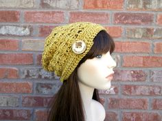 Slouchy Beanie, Spicy Mustard Yellow with Big Wooden Button, Crochet Hats for Women, Street Style, Teen Fashion, Cute Beanie, Fall, Winter by foreverandrea on Etsy