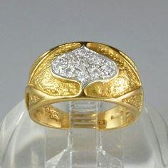 Vintage 18K Gold and Diamond Ring  Italian 1980s Cigar Band