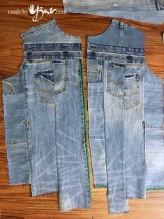 UpCycle Denim Jeans to Jacket - Hergestellt von Barb - Einfaches Zusammenfügen . UpCycle Denim Jeans to Jacket - Made by Barb - Easily assemble reused jeans into an elegant jacket with no print pattern, Denim Jeans, Gilet Jeans, Jacket Jeans, Denim Jacke, Denim Purse, Denim Coat, Jeans Dress, Refaçonner Jean, Jean Bag
