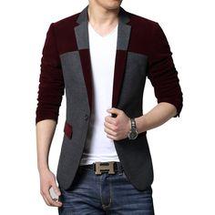 MOGU Men's 1 Button Center Vent Wool Blend Blazer Jacket US Size 42 Wine Red