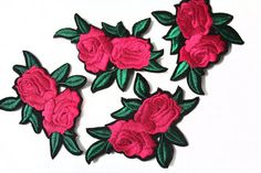 3 Hot Fix Iron On Embroidered Roses Patches Appliques for Crafts
