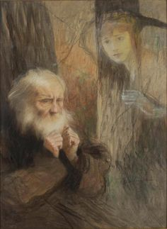 Teodor Axentowicz Old Man and the Ghost of a Young Woman after 1900 pastel MNW Warsaw