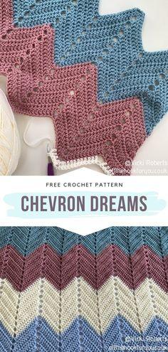 Chevron Crochet Blanket Pattern, Chevron Baby Blankets, Crochet Ripple, Baby Afghan Crochet, Crochet Stitches Patterns, Crochet Blankets, Free Crochet, Stitch Patterns, Beginner Crochet Projects