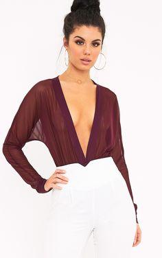 Yulia Wine Mesh Plunge Jersey Thong Bodysuit