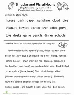 This grammar worksheet is a great review of the difference between singular and plural nouns.