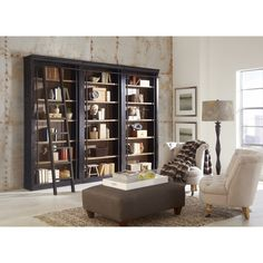 Create the home library of your dreams with this handsome two-bookcase wall set that includes a traditional bookshelf ladder. wide x high x deep. Ladder sits from the bookcase. Entire set is deep with the ladder. Style # at Lamps Plus. Large Bookcase, 5 Shelf Bookcase, Bookcase With Ladder, Martin Furniture, Office Furniture, Furniture Decor, Brown Furniture, Business Furniture, Furniture Storage