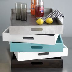 West Elm Trays are great for styling coffee tables. Just put a collection of items on them and it pulls it all together