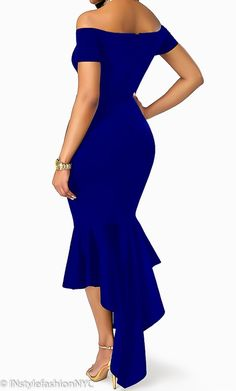 "- INstyle fashion NYC - Women's royal blue mermaid dress with darted bodice - Off shoulder slash neckline with small V detail - Regular cap sleeve - Natural waistline - Zipper back closure - Trumpet, mermaid silhouette - High low asymmetrical floor length featuring fishtail style Size:S Bust:78-86cm/30.7-33.9"" Tile Waist:66cm/26.0"" Front Length:106cm/41.7"" Back Length:127cm/50.0"" Size:M Bust:82-92cm/32.3-36.2"" Tile Waist:68cm/26.8"" Front Length:107cm/42.1"" Back Length:128cm/50.4"" Size:L… Elegant Dresses, Sexy Dresses, Fashion Dresses, Prom Dresses, Instyle Fashion, Nyc Fashion, Blue Mermaid Dress, Mermaid Silhouette, Church Dresses"
