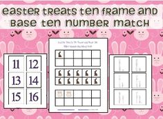 This Easter Treats Ten Frame and Base Ten Number Match freebi e is like the set I had for St. Patrick's Day, but I changed it to includ...