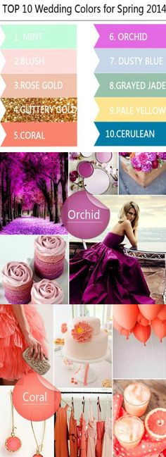 Top 10 Wedding Colors Ideas for Spring 2014 http://sulia.com/channel/all-living/f/1fd093d7-fc7c-4245-a41e-d4cce6ab46f4/?pinner=125511453- For more great tips, tools, ideas and advise visit us at Bride's Book