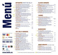 Carta Hell's, aquí tienes toda la carta de nuestro restaurante de un solo vistazo.