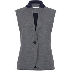 ATEA OCEANIE - Vest wool jersey (682,175 KRW) ❤ liked on Polyvore featuring outerwear, vests and vest waistcoat