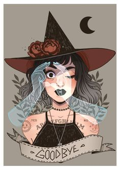 Ouija witch by HetteMaudit on DeviantArt Pretty Art, Cute Art, Arte Copic, Art Sketches, Art Drawings, Witchy Wallpaper, Character Art, Character Design, Witch Characters