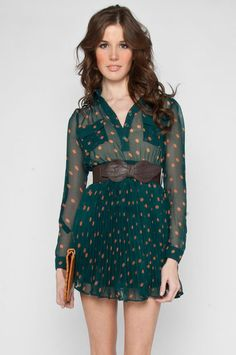 forest green shirt dress with peach polkadots and pleated skirt