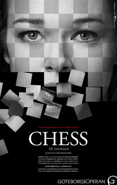 Checkerboard of a face that's falling- poster design for chess