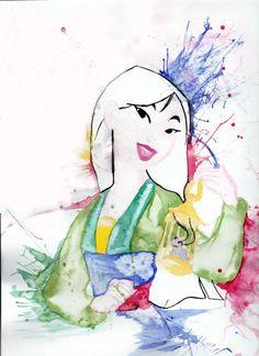 Watercolor art of Mulan from Disney Disney Princess Art, Disney Fan Art, Disney Princesses, Disney Artwork, Cute Disney, Disney Girls, Disney And Dreamworks, Disney Pixar, Princesa Mulan