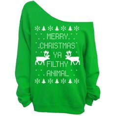 Merry Christmas Ya Filthy Animal- Ugly Christmas Sweater - Green... ($29) ❤ liked on Polyvore featuring tops, hoodies, sweatshirts, shirts, sweaters, christmas, loose sweatshirt, green jersey, checked shirt and oversized jersey shirt