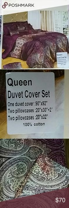 Swanson bedding duvet cover set queen new Brand new in package Queen duvet cover set shushan to pillowcases one Queen Isaiah cover it is reversible color is purple there is more white on the other side little bit of blue and coral in it gorgeous made out of bedding Accessories
