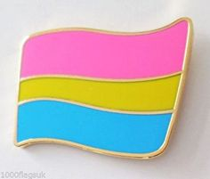 Pansexual Pride Rainbow LGBT Wavy Flag (Real Gold Plated) Pin Badge