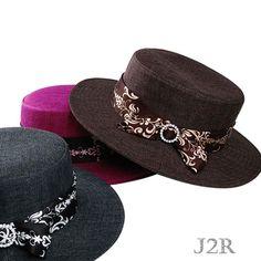 af85d7aa9ebc3 J2R Wool Blended Flat Crown Long Brim Boater Custume Womens Hats JRFF017 -  Korea  J2RKorea