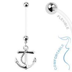 Anchor Maternity Belly Bar - Clear Flex Pregnancy Navel Jewellery. Find it at www.tummytoys.com.au