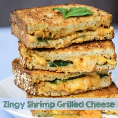 Zingy Shrimp Grilled Cheese - Cheesy shrimp with a kick, stuffed between two pieces of multi-grain bread and grilled to gooey goodness! - by DizzyBusyandHungry.com