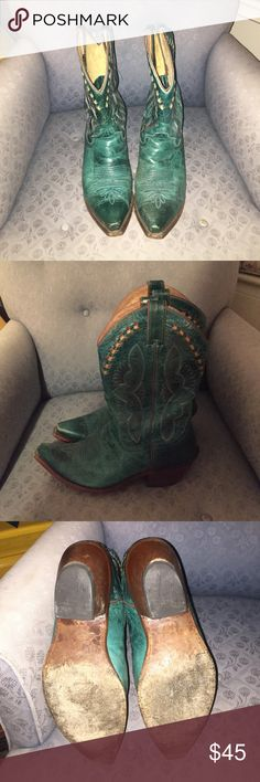 Turquoise cowboy boots Same as the brown boots. Extremely scuffed so they wouldn't be slippery on hardwood floors. Amazing condition beautiful leather. Very comfortable. Only worn a handful of times. Justin Boots Shoes Heeled Boots