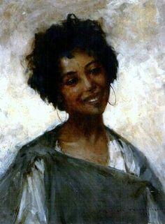 Algérie - Peintre français Georges Gasté (1869-1910), huile sur toile 1894 , Titre : Jeune fille de Laghouat
