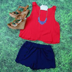 Get this Tulip-Back Crop Top in Red at Entourage for JUST $15! Free Shipping Always!