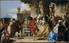 Una danza en el país  Artista:Giovanni Domenico Tiepolo (italiano, Venecia 1727-1804 Venecia) Fecha:California.1755Medio:Óleo sobre lienzoDimensiones:29 3/4 x 47 1/4 pulg. (75,6 x 120 cm)Clasificación:pinturas