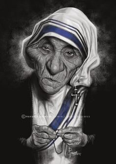 Mother Teresa by Priyanka Goswami Cartoon Faces, Funny Faces, Cartoon Characters, Funny Caricatures, Celebrity Caricatures, Funny Toons, Intelligent Women, Caricature Drawing, Famous Cartoons