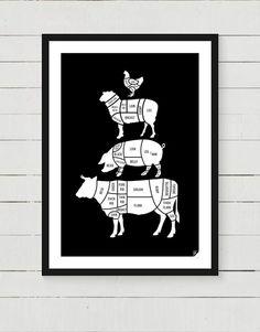 """#niezchinzpasji Plakat """"Meat Cuts"""" black w Follygraph na DaWanda.com"""