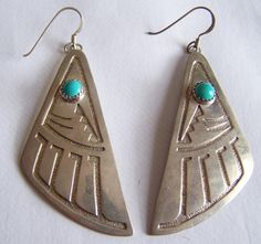 Native American Silver turquoise drop dangle Earrings | Large STERLING Silver HOPI Turquoise Native American Bear foot paw ...
