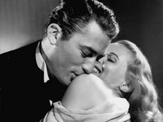 "Gregory Peck Embracing Ann Todd in Publicity Still for Alfred Hitchcock's Film ""The Paradine Case."""