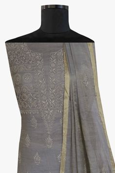 Ada Hand Embroidered Grey Tissue Fabric Lucknowi Chikan Unstitched Kurta Dupatta Set - A622078 offers a comfortable and relaxed silhouette to the wearer #Adachikan #chikankari #chikan #handembroidered #handcrafted #unstitched #tissue