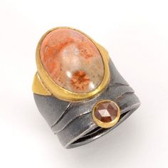 Atelier Zobel, Ring, Oxidized Silver and 22k Gold with Fossilized Coral and a .62 ctw Rose Cut Diamond
