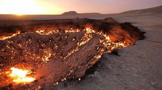 The Gates of Hell, Turkmenistan. A natural gas sink hole that was set on fire in 1971 to burn off the gas. It's still burning