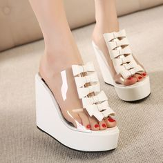 Women high-heeled wedge sandals with bow and piscine mouth