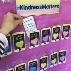 "These Kindness Matters iPhones by Mrs Henry in First help inspire and recognize kindness in the classroom! Students can write a ""text"" to their friends to thank them for whatever kindness they have shown."
