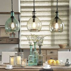 [Off to College] CASAMOTION Wavy Vintage Industrial Hand Blown Glass Pendant Light, 1 hanging Light, 13 Inch, Clear - - Amazon.com