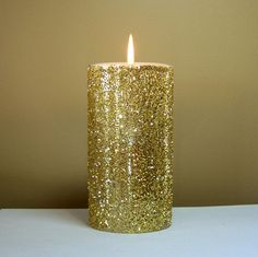 10% OFF SALE - Gold Glitter Pillar Candle, Decorative Candle, Unscented Candle, Glitter Wedding Decor on Etsy, $14.40